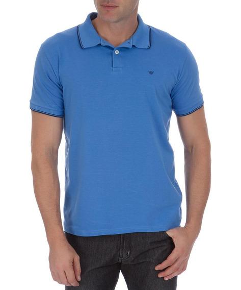 Camisa Polo Colombo Masculina Azul Com Detalhe 40561