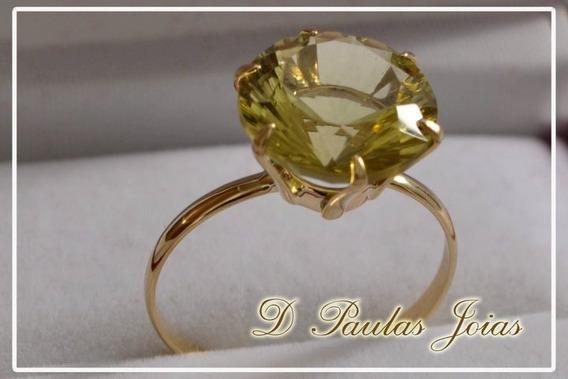 Anel Em Ouro18k Com Gema Green Gold 12x Sem Juros