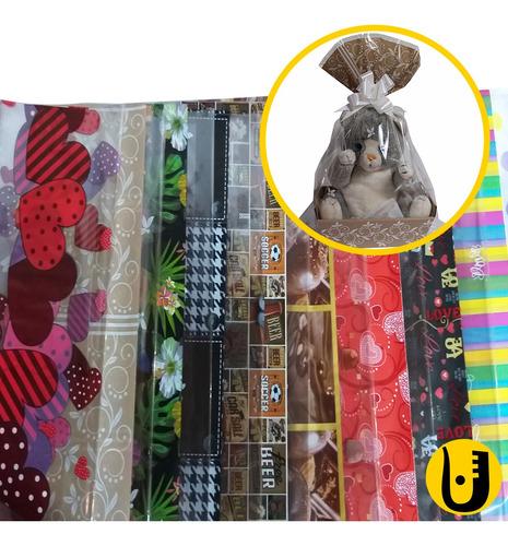 Imagem 1 de 2 de Kit 50 Sacos De Cesta 45x59 + 2 Fitas Decoradas