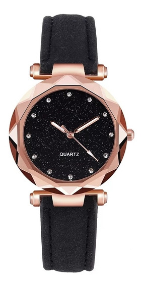 Relógio Feminino Céu Estrelado Luxo Preto,pulseira Yolako.