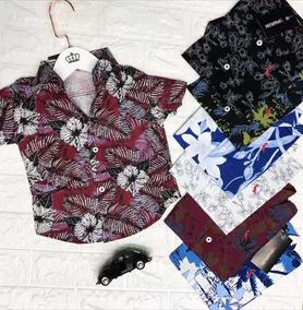 Camisa Infantil Manga Curta Meninos Estampa Floral Na Moda