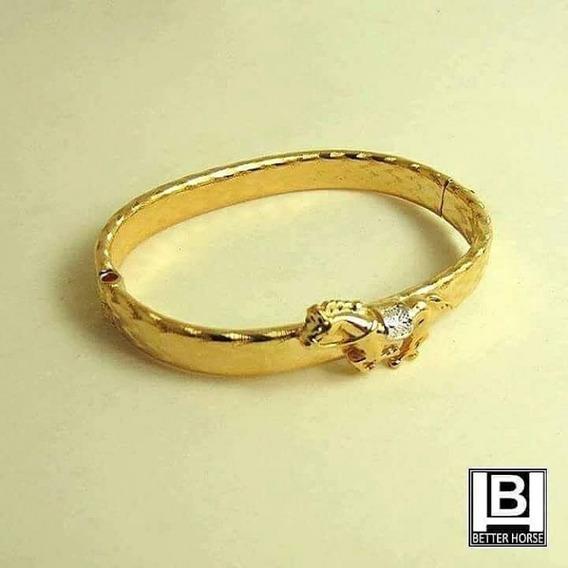 Bracelete Cavalo Com Sela Banhado Ouro