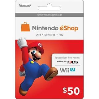 Cartão Nintendo 3ds Switch Wii U Eshop Cash Card 50 Dolares