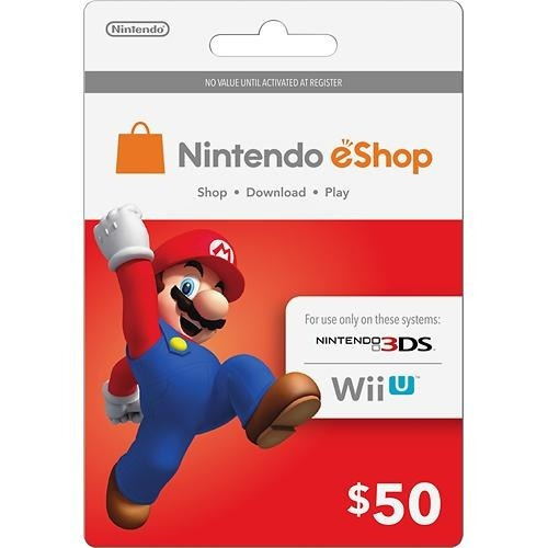 Cartão Nintendo 3ds Switch Wii U Eshop Cash Card 50 Dolares