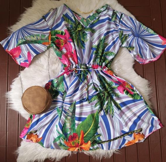 Vestido Plus Size Floral Estampado Manga Curta Soltinho