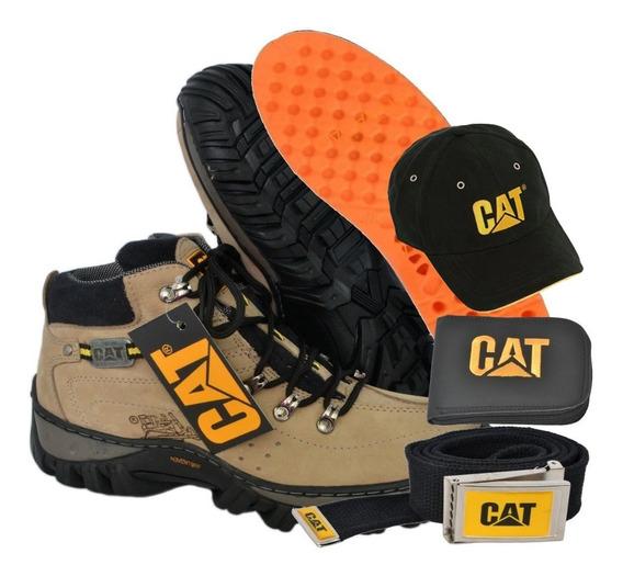 Kit Bota Adventure Caterpillar Carteira + Cinto + Bone