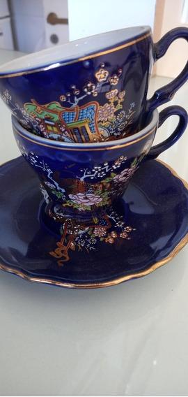 Antiguas Tazas X2 Porcelana + 1 Plato Decoración Oferta