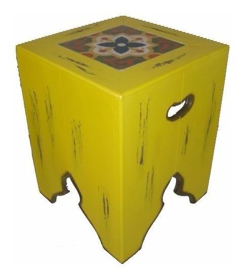 Banco Madeira Ladrilho Hidráulico Colorido Amarelo Promoção