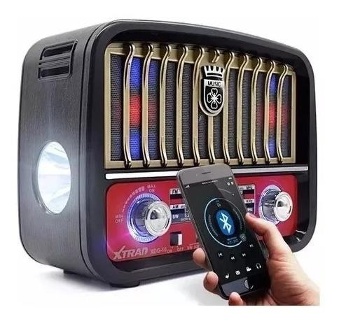 Caixa Som Retro Bluetooth Radio Am Fm Usb Sd - Cor Dourado