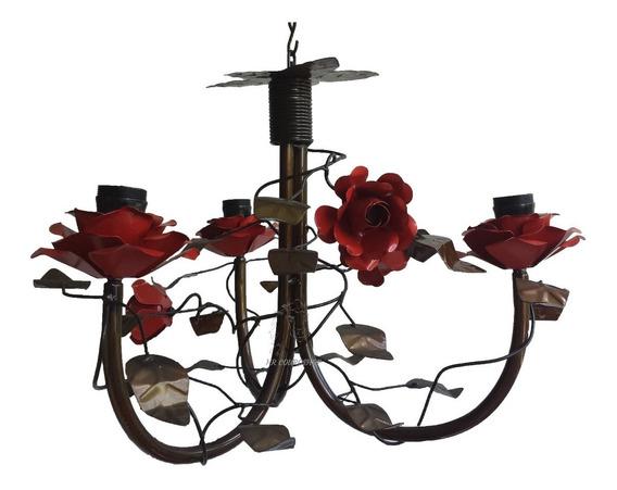 Lustre Rústico Com Flores De Ferro Envelhecido Decorado