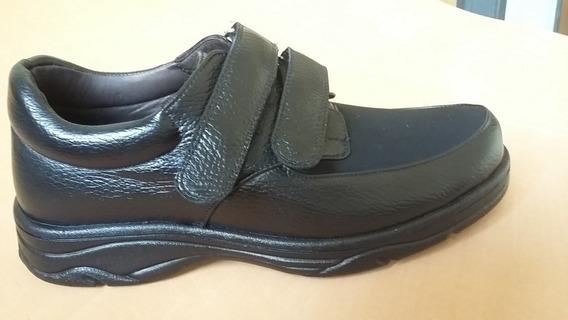 Sapato Ortopédico De Couro E Neoprene Para Pés Inchados