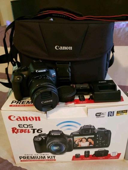 Canon T6 Premium + 3 Lentes + 2 Bat + Bolsas + Cartão 32gb