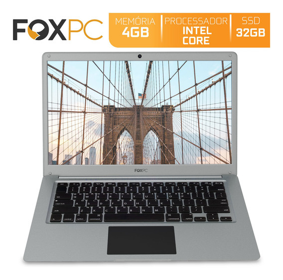 Notebook Foxpc Intel Core 4gb Ssd 60gb 14 Prata