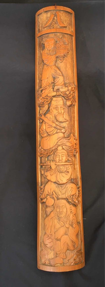 Painel Placa Escultura Oriental Em Bambu Antigo