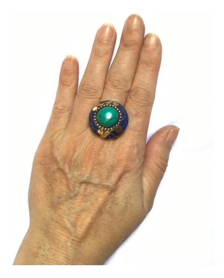 Anel Indiano Tibetano Pedras Turquesa Tibetana