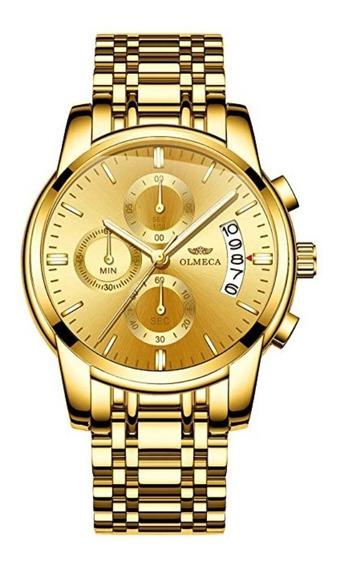 Relógio Olmeca Masculino Banhado Em Ouro