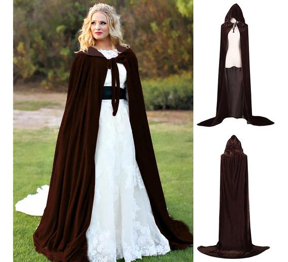 Capa De Halloween Con Capucha Terciopelo Brujas Princesa