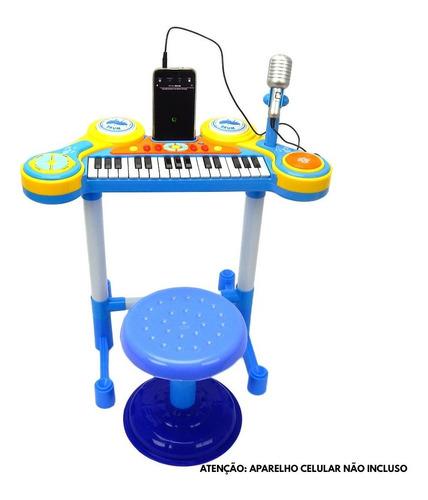 Teclado Som E Luz Piano Infantil Com Microfone E Banquinho