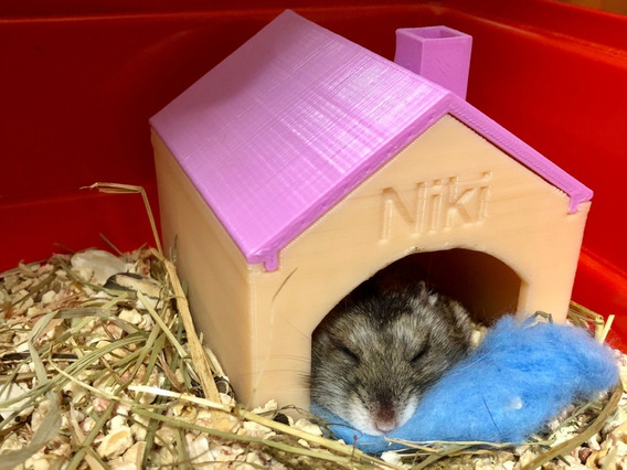 Casa Para Hamster Pet Nome Personalizado Tag Casinha Roedor