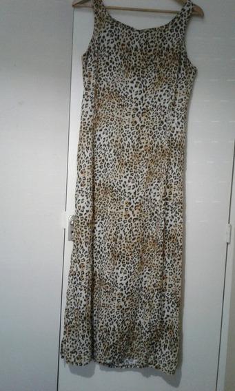 Vestido Fibrana Animal Print Largo