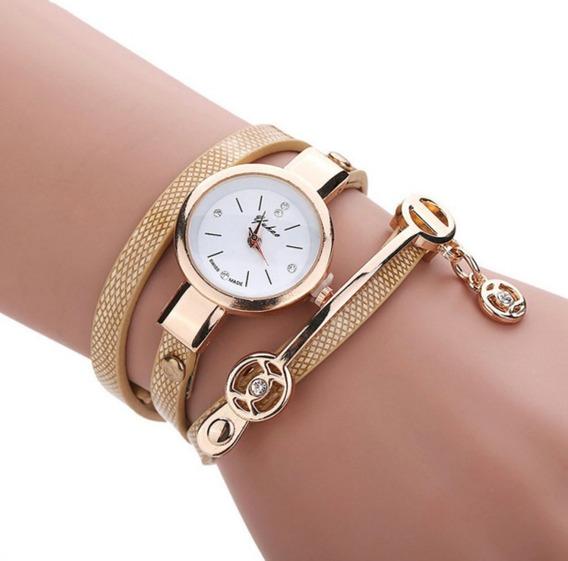 Relógio Feminino Dourado Pulseira De Couro Kit 10 Unidades