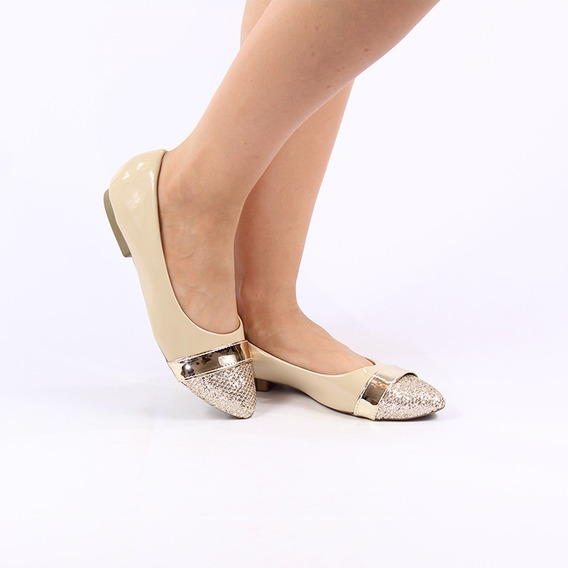 Sapatos Femininos Sapatilha Feminina - Bege Com Bico Dourado