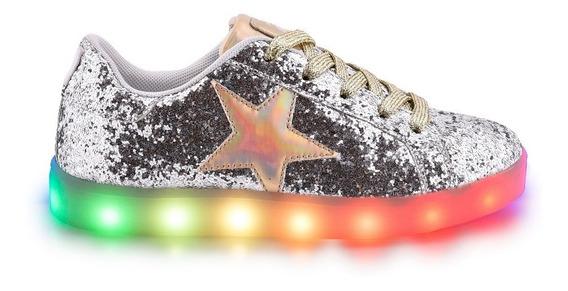 Zapatillas Footy Luces Led Usb Estrella Glitter Star Fty