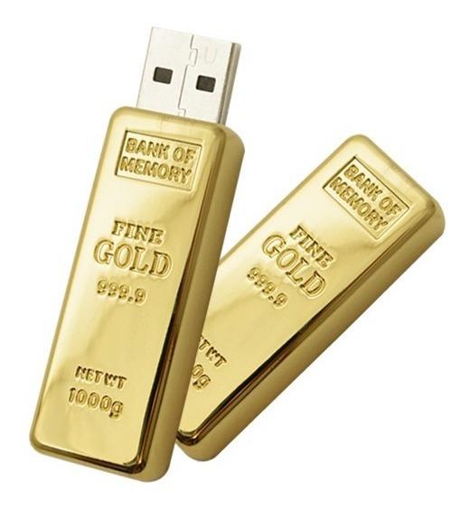 Memoria Usb 8 Gb Lingote Oro Metal Promocional Mayoristas Entrega Inmediata