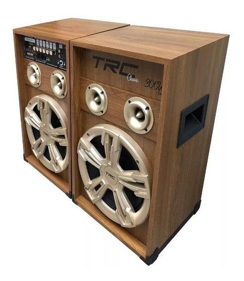 Caixa De Som Trc 439 Amplificada Com Bluetooth 300w Usb Led