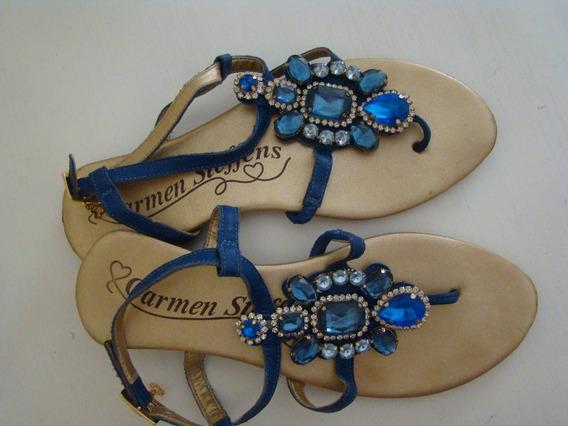 Sandália Rasteira Carmen Steffens Pedraria Azul Nº36