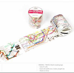 Washi Tape Fita Decorativa Mapa Metrô Viagem Japão