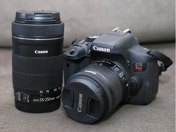 Camera Canon T6i+18-55 Stm+55-250 Stm. Muito Novas!