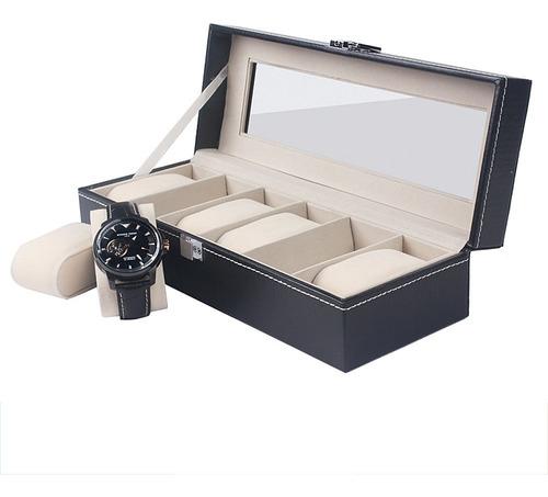 High-end 6 Slots Pu Relógio De Couro Exibição Caixa Presente