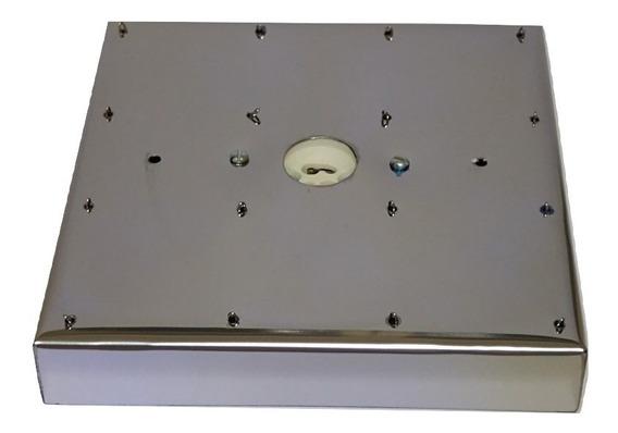 Base Aço Inox 15 Cm Quadrada Para Lustres 16 Furos
