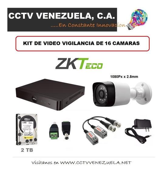 Kit De Cctv Dvr Hibrido De 16 Canales / Camaras Marca Zkteco