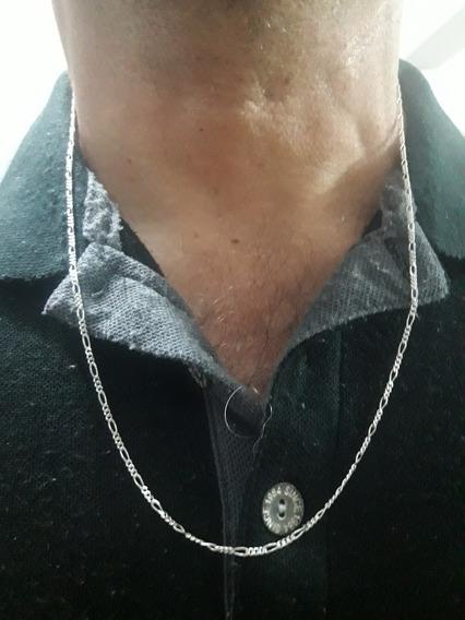 Corrente Masculina Groumet 3x1 Prata Pura 925 60cm + Brinde
