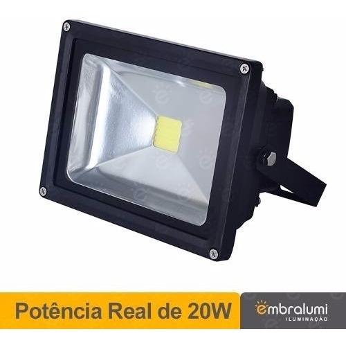 3 X Refletor De Led - Holofote Branco Frio 20w - Ip65 Bivolt