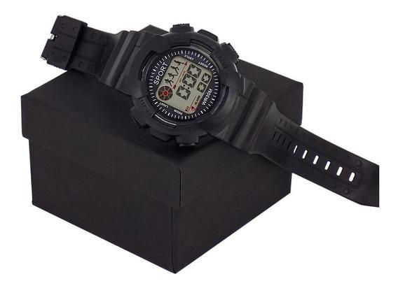 Relógio Orizom Sport Original Preto Azul Vermelho Luz De Led + Caixa Com Nota Fiscal