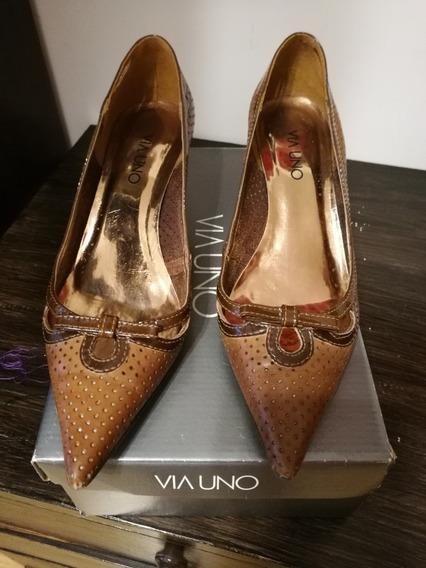 Zapatos De Cuero Super Elegantes Via Uno