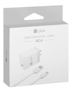 1hora Turbo Cargador Universal Usb 3a Con Cable Tipo C 3.0
