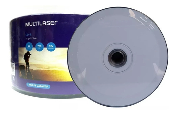 50 Mídia Cd-r. 52x. Imprimível Branco Multilaser Com Nota