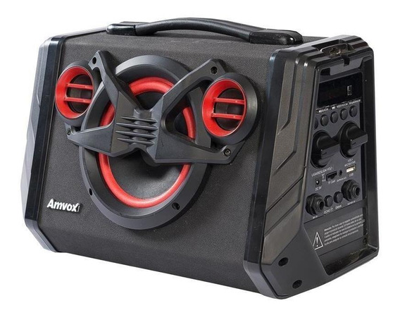 Caixa Amplificada Amvox Aca-110 80w Bluetooth Usb E Rádio Fm
