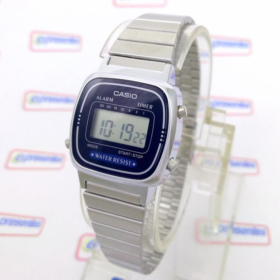 La670wa-2df Relogio Casio Mini Prateado Azul - 100% Original