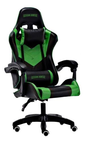 Imagen 1 de 3 de Silla de escritorio Ideon Extreme Hunter Pro gamer ergonómica  negra y verde con tapizado de cuero sintético