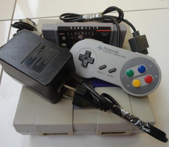 Super Nintendo + Mk Ultimate, Acessórios Originais + Brinde
