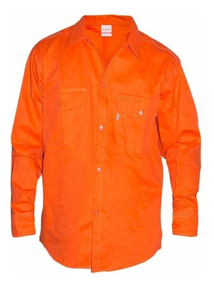 Camisa De Trabajo Naranja, Triple Costura, Tela Grafa 70