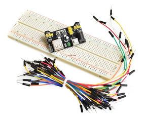 Kit Protoboard 830 + Jumper 65 Peças + Fonte Ajustável