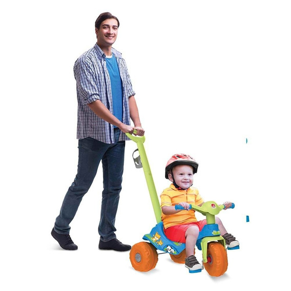Triciclo Infantil Empurrador Menino Bandeirante Velotrol 838