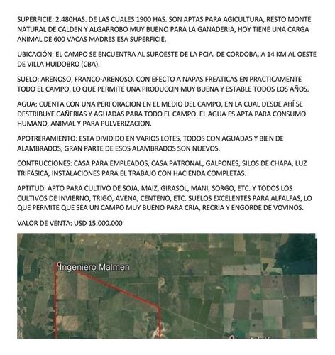 2.480 Hectareas Mixtas ( Villa Huidobro. Cba).