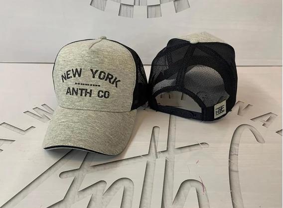 Boné Anth Co. New York Aba Curva Trucker Cinza 8011